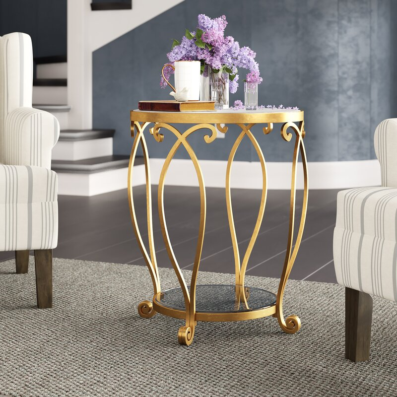 Katelynn Round Gold End Table