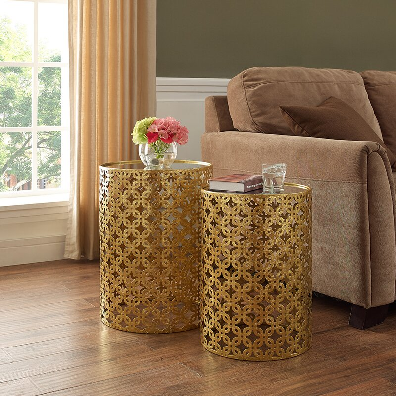 Kessel 2 Piece Gold Drum Nesting Tables