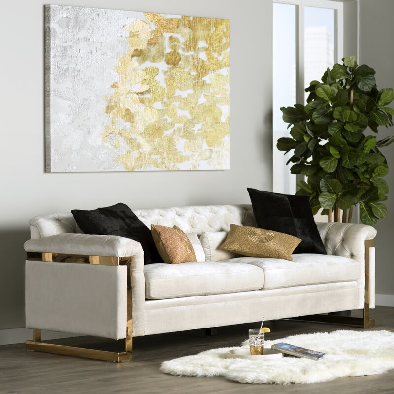 Montoya White & Gold Sofa