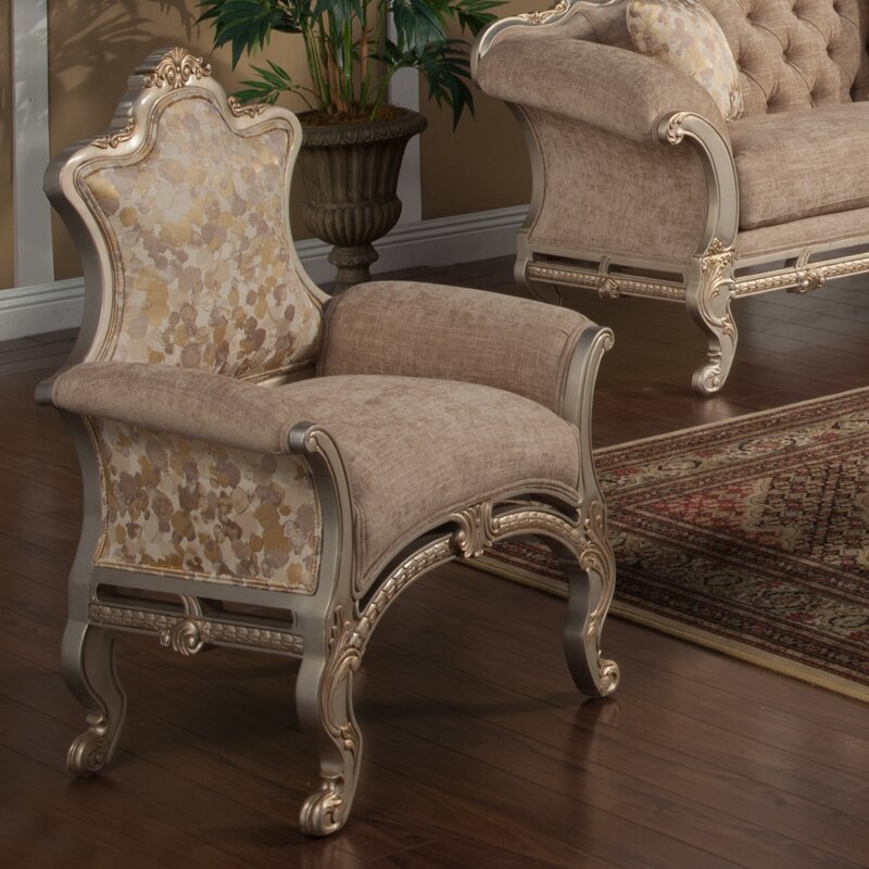 Oak Hill Gold-Trimmed Upholstered Armchair