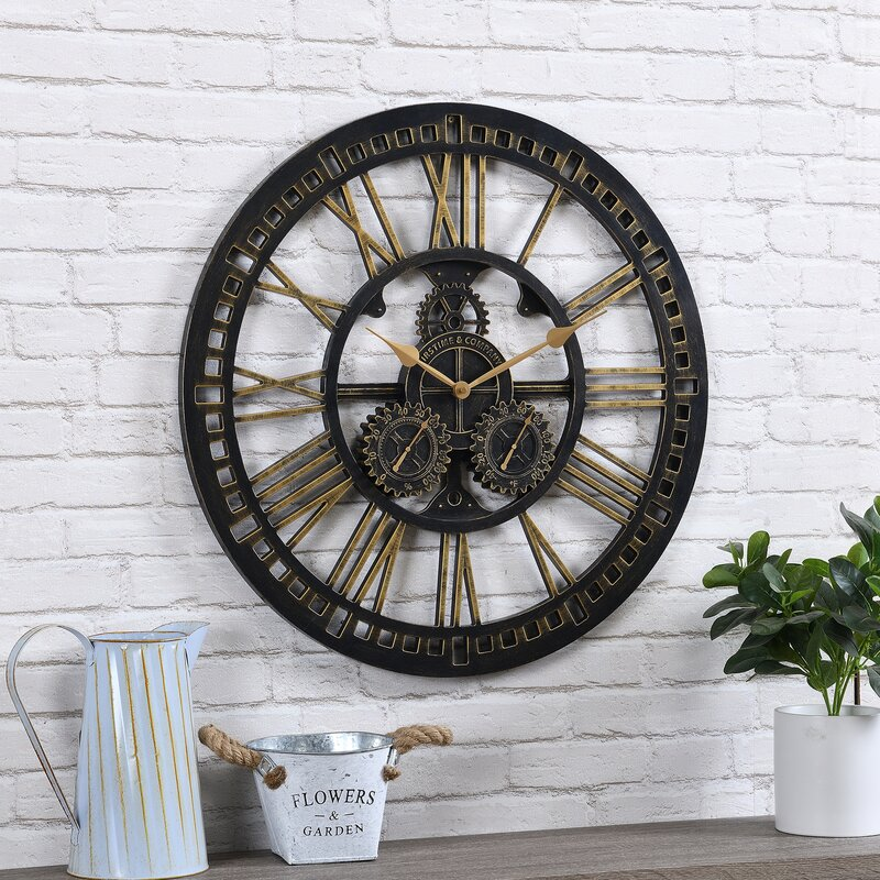 """Oversized Gilded Gears 24"""" Outdoor Wall Clock"""
