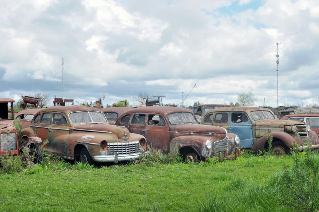 Parking Lot of Abandoned Cars