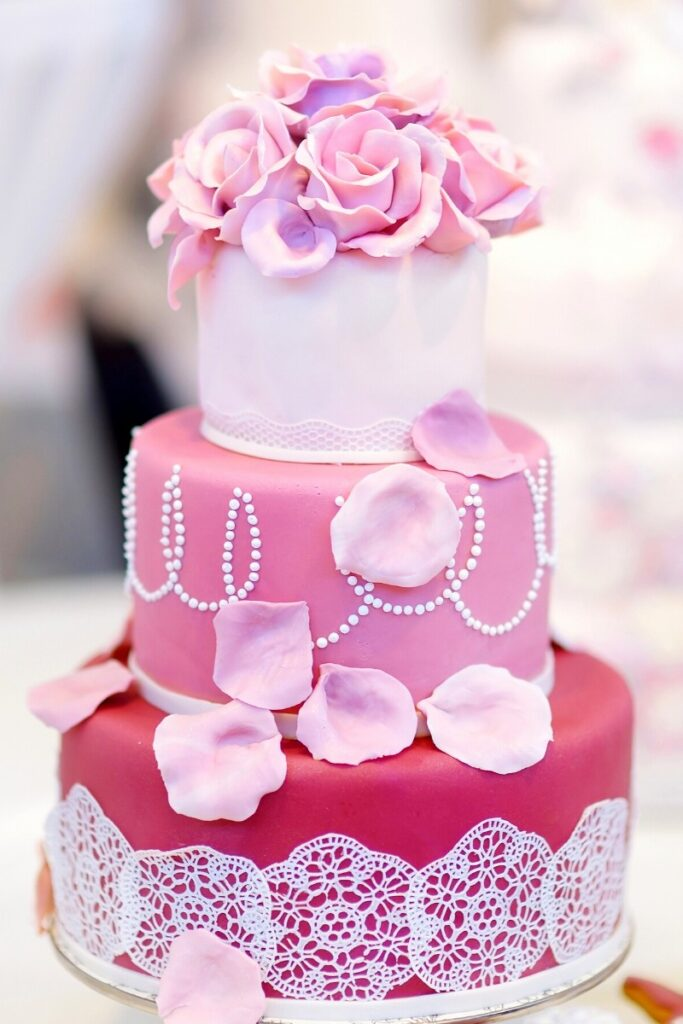 Pink Birthday Cake - Flowers and Lace