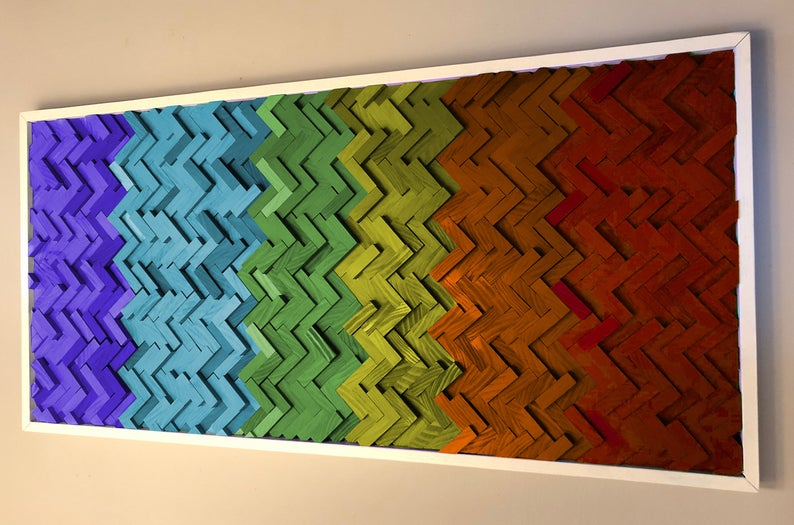Pride Rainbow Dimensional Wood Art