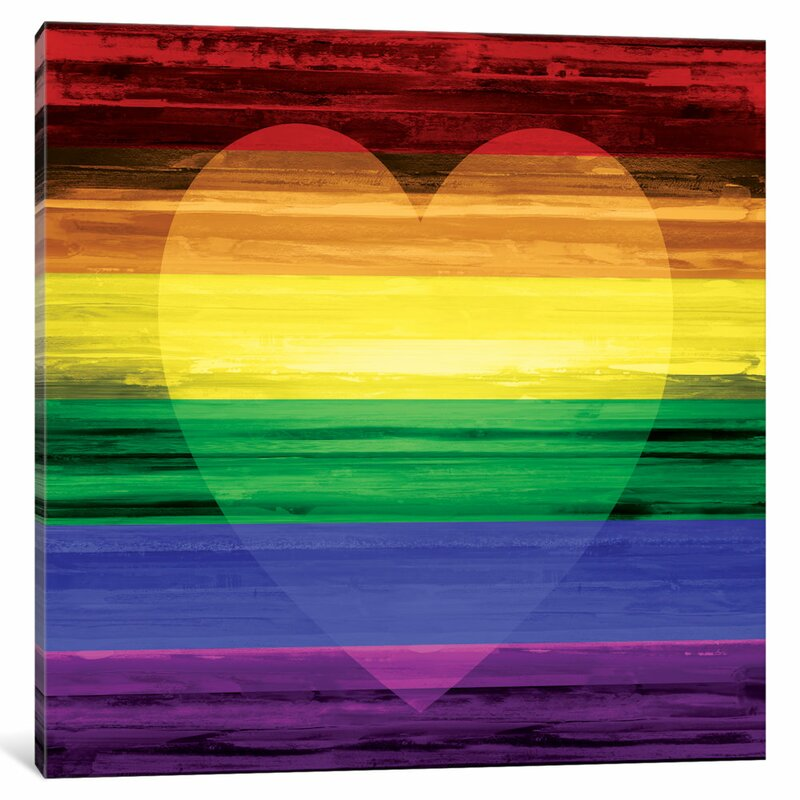 'Rainbow Heart' Pride Art Print on Canvas