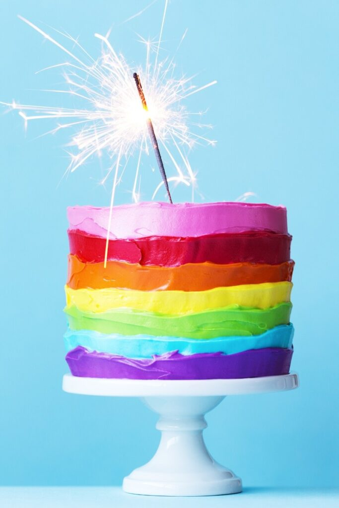Rainbow Icing Birthday Cake