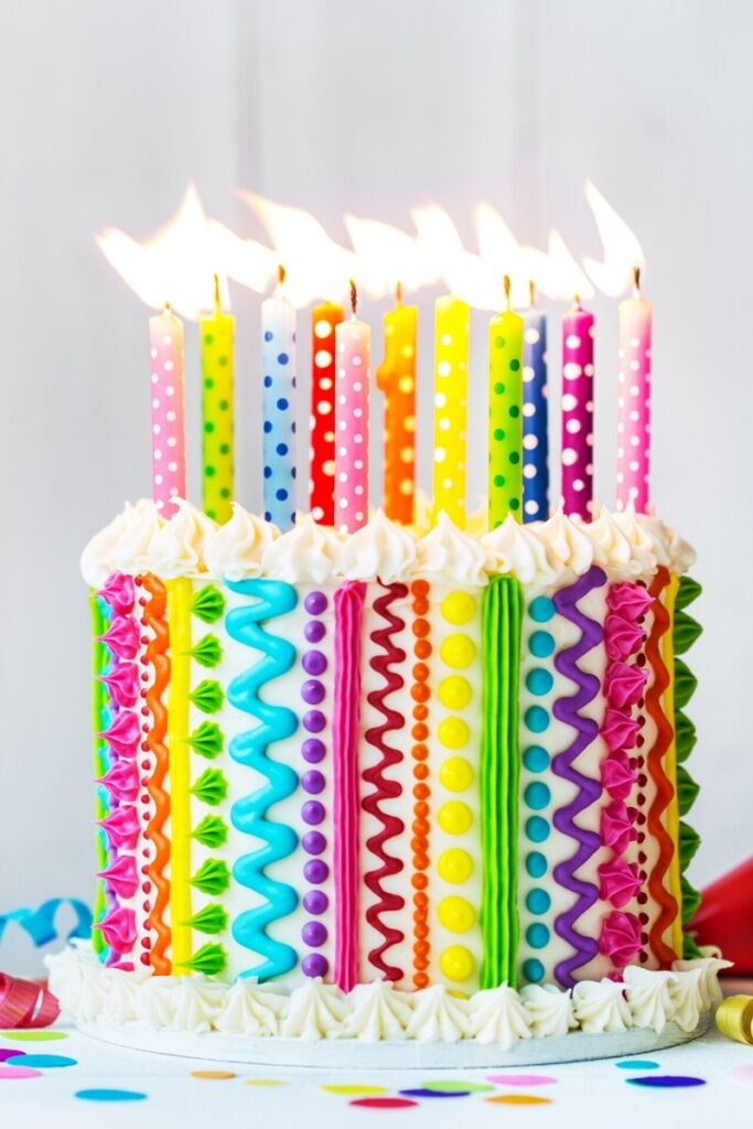 Rainbow Lines Birthday Cake