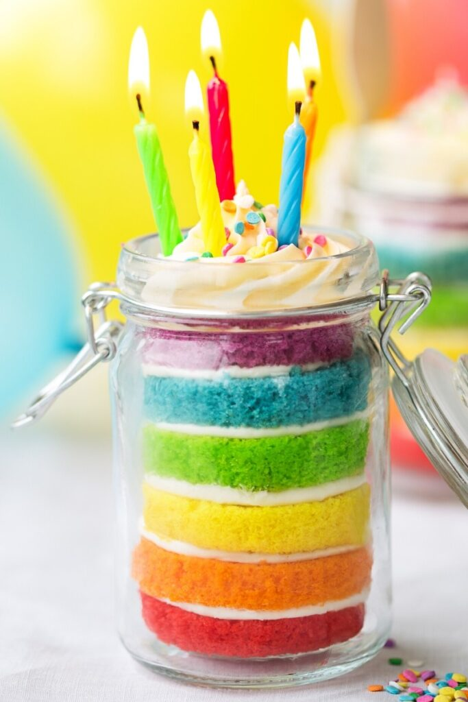 Rainbow Mason Jar Birthday Cake