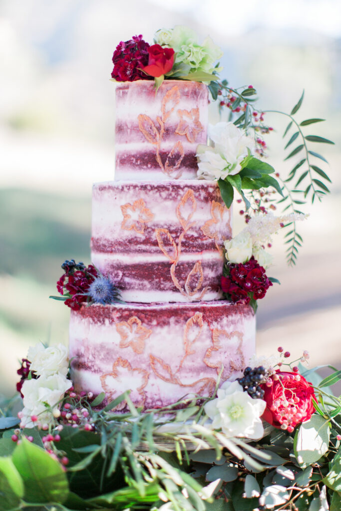 Red Velvet Nearly Naked Wedding Cake by Frost It Cakery