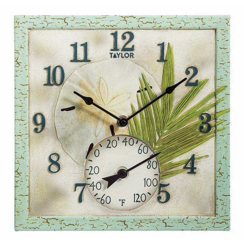 Sand Dollar Square Outdoor Clock and Thermometer