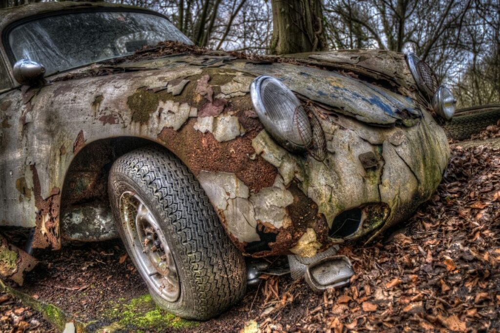 Severely Rusted Abandoned Car