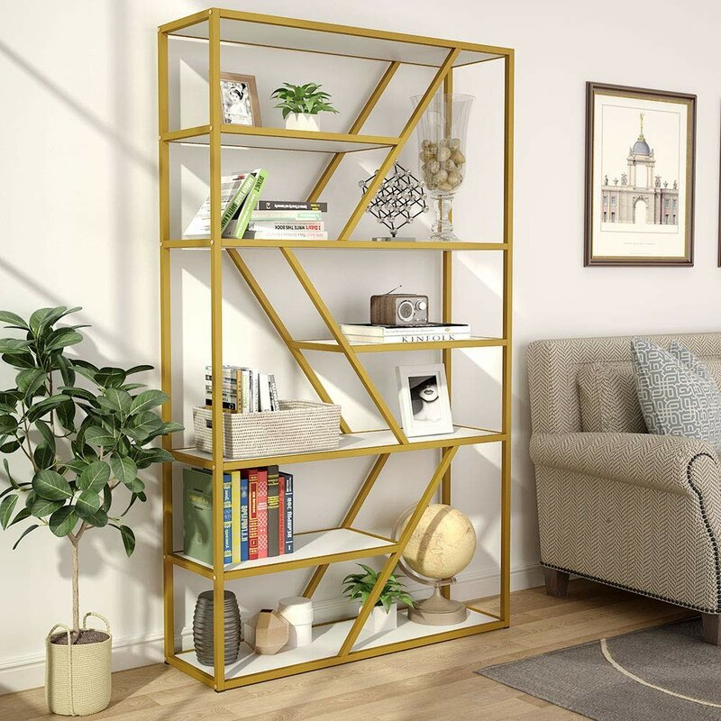 Spinelli Gold Etagere Bookcase