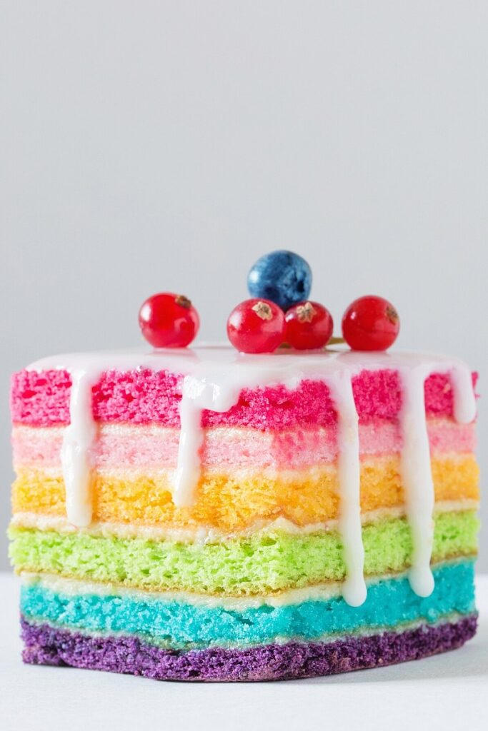 Square Naked Rainbow Cake