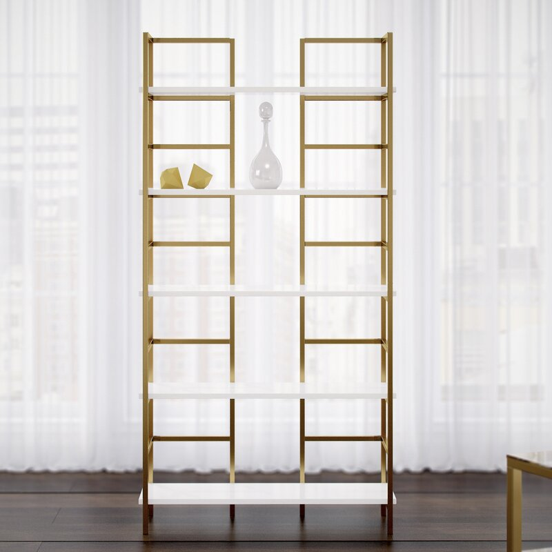 Tinley White & Gold Etagere Bookcase
