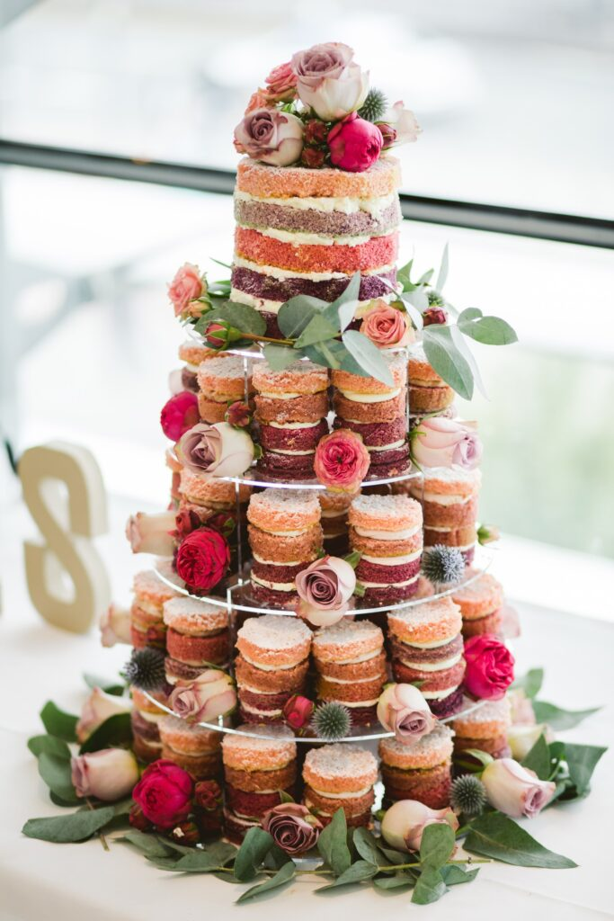 Tower of Mini Naked Wedding Cakes