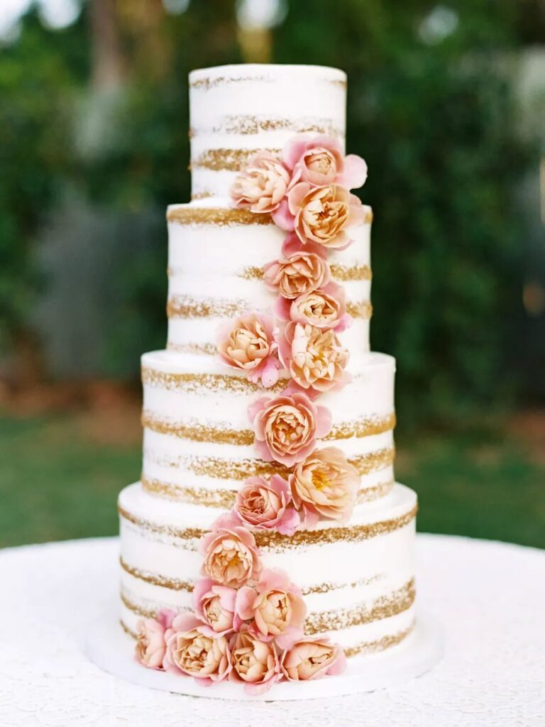 Trailing English Roses Nearly Naked Wedding Cake BY Lele Patisserie.