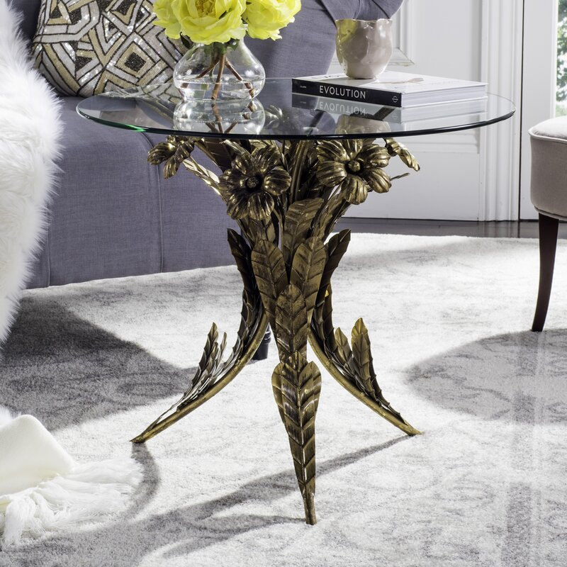 Valda Gold Floral End Table