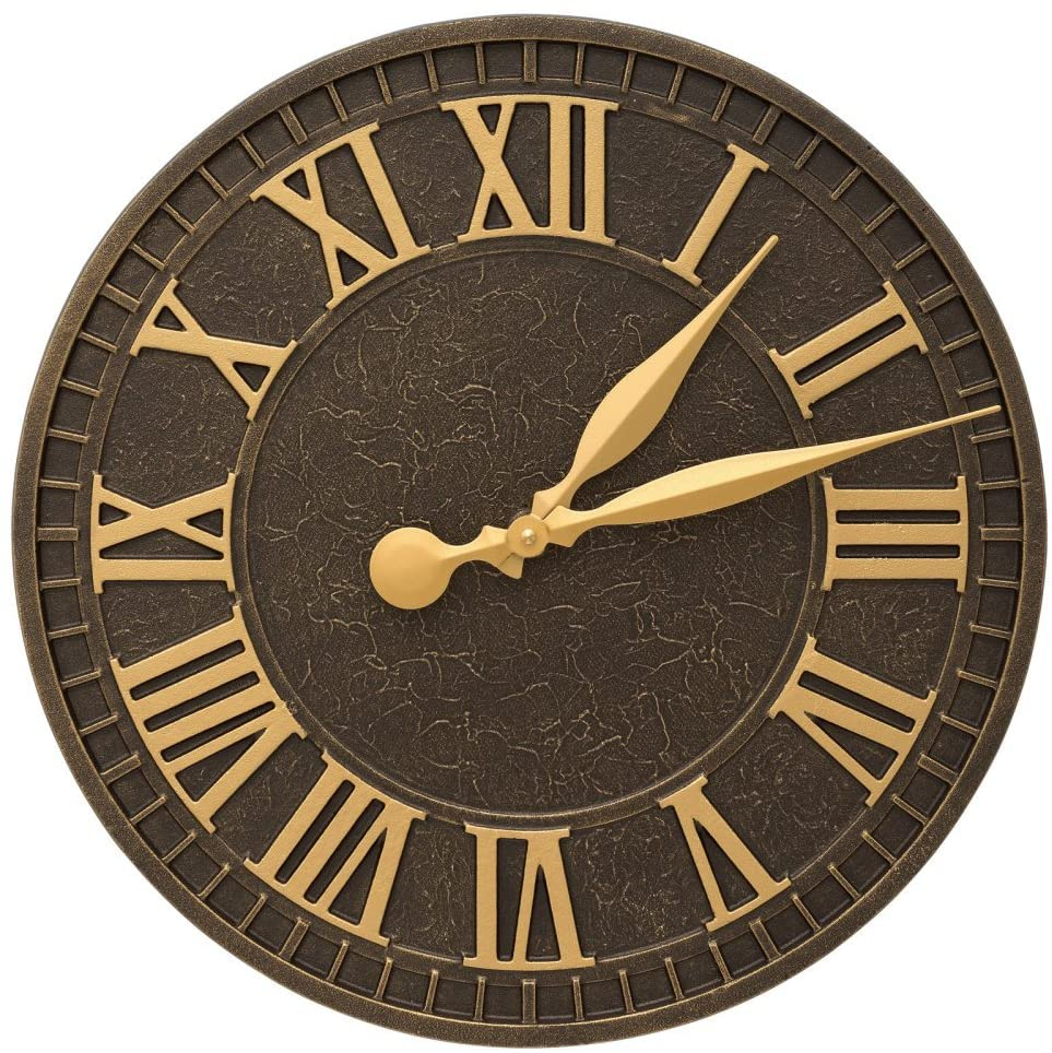Whitehall Outdoor Wall Clock in Aged Bronze