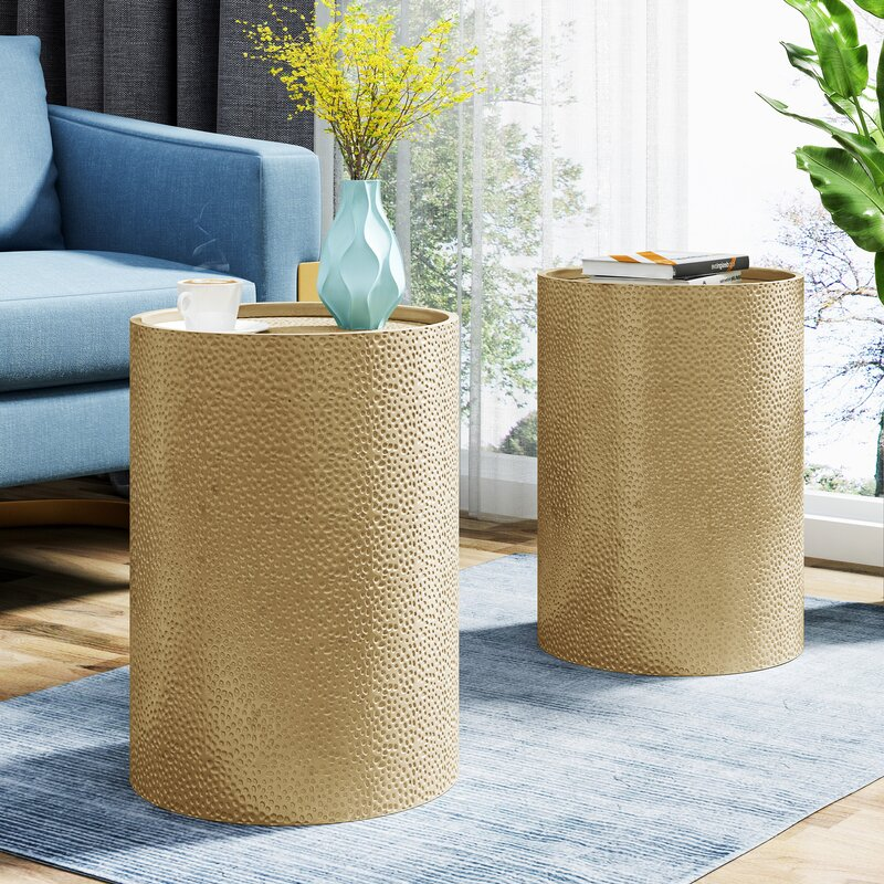 Zadie Gold Drum End Table Set