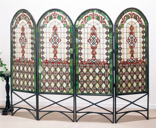 Quatrefoil Classical 4-Panel Stained Glass Room Divider