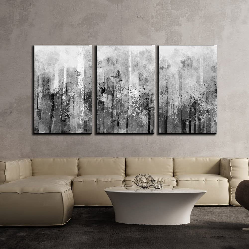 Abstract Black and White Splash Canvas Art Set
