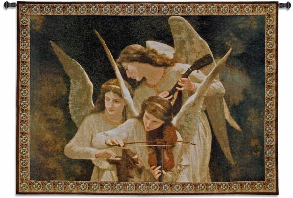 Angels Playing Violin | 53 x 39 | Tapestry Wall Decor