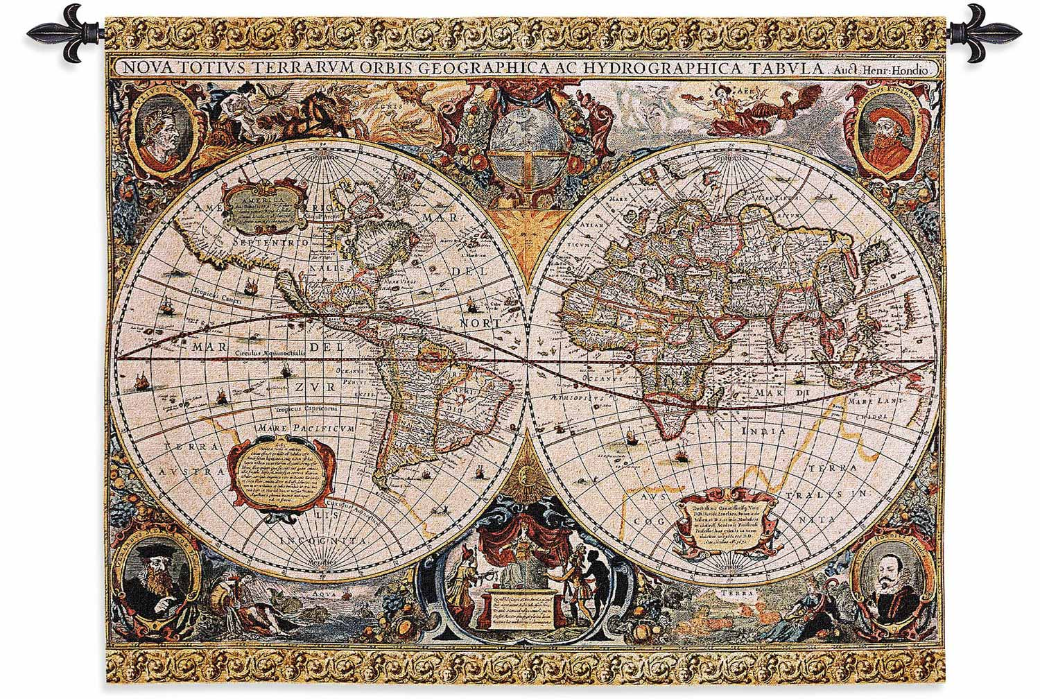 Antique Map Geographica | 45″ x 35″ | Wall Tapestry