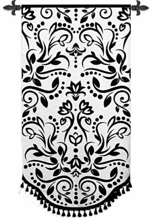 "Arabella | Black & White French Country Tapestry | Boucle & Cotton | 35"" x 68"""