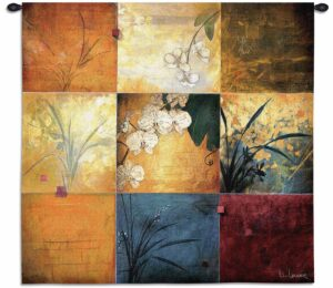 "Artistic Floral Orchid Nine Patch | 35"" x 35"" 