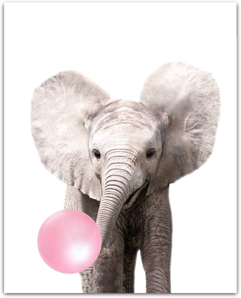 Baby Animals with Bubblegum Elephant Art Print