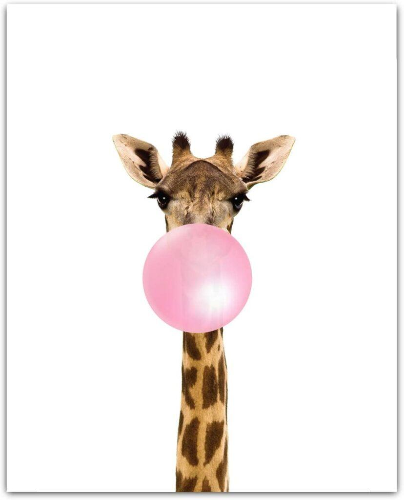 Baby Animals with Bubblegum Giraffe Art Print