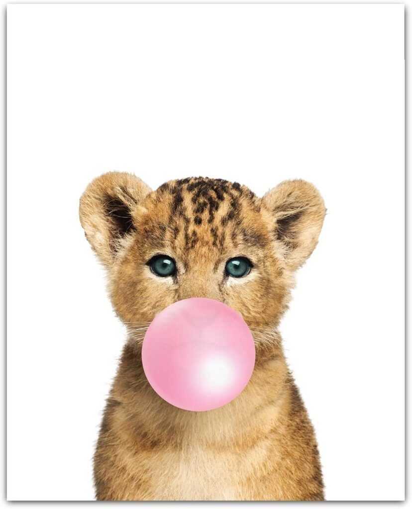 Baby Animals with Bubblegum Lion Cub Art Print