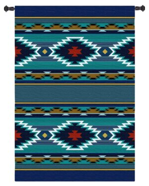Balpinar | Turquoise Southwest Pattern Woven Tapestry | 73 x 53