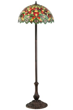 """Baroque   Victorian Tiffany Floral Stained Glass Standing Lamp   61.5"""" H"""