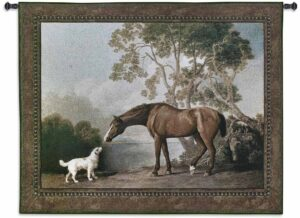 "Bay Horse and White Dog | 53"" x 41"" 