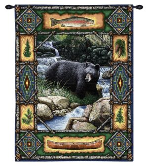 Bear Lodge | Rustic Tapestry Wall Hanging | 34 x 26