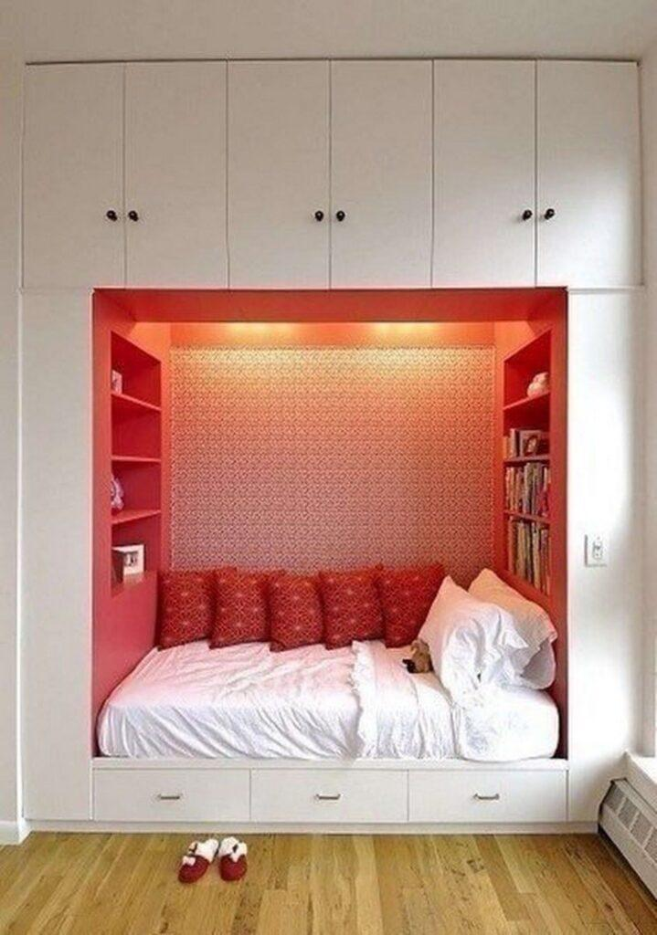 Red Storage Alcove Bedroom