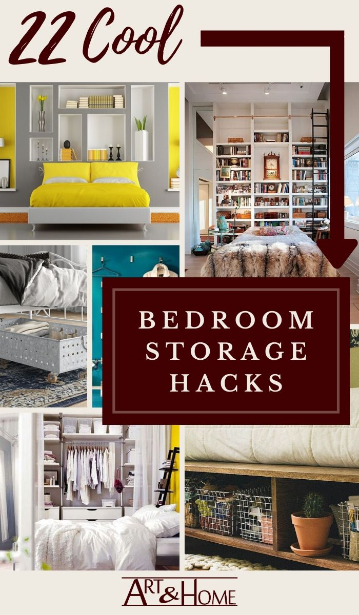 22 of the best bedroom storage hacks to help you squeeze as much stuff as you can into your bedroom without making it feel cluttered and crowded. #BedroomStorage #StorageHacks
