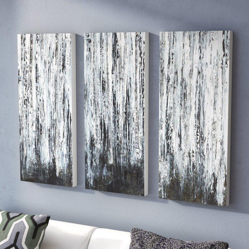 Birch Forest 3-Piece Black & White Canvas Art Set