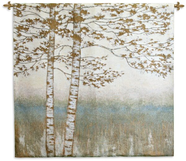Birch Silhouette II   Woven Tapestry Wall Hanging   48 x 52