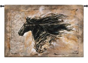 Black Beauty | Horse Art Tapestry Wall Hanging | 53 x 35