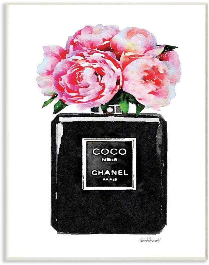 Black Coco Chanel Perfume Bottle with Peony Flower