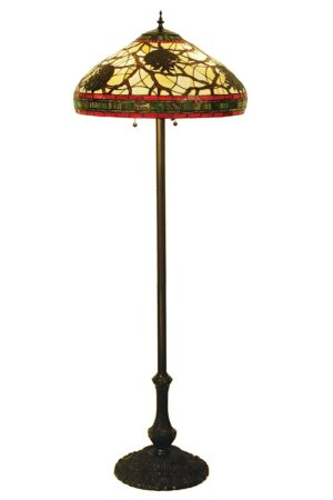 "Burgundy Pinecone | Rustic Lodge Stained Glass Floor Lamp | 63"" H"
