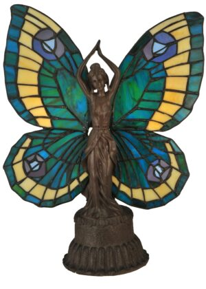 Butterfly Lady Tiffany Stained Glass Accent Lamp