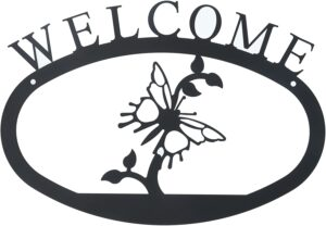 Large Rustic Wrought Iron Welcome Sign - Pine Trees