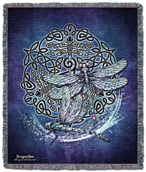 Celtic Dragonfly Tapestry Throw Blanket | 60 x 50