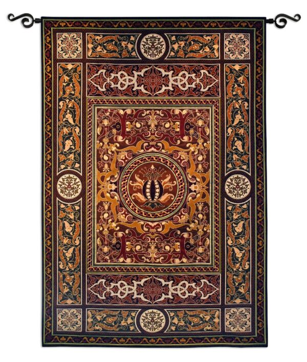Chateau Medallion   Traditional Tapestry Wall Hanging   75 x 53