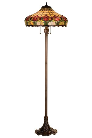 Colonial Tulip Stained Glass Floor Lamp | 63.5""