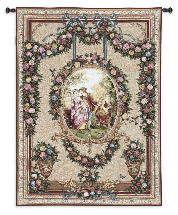 Courtship | Traditional French Country Floral Tapestry | 70 x 53