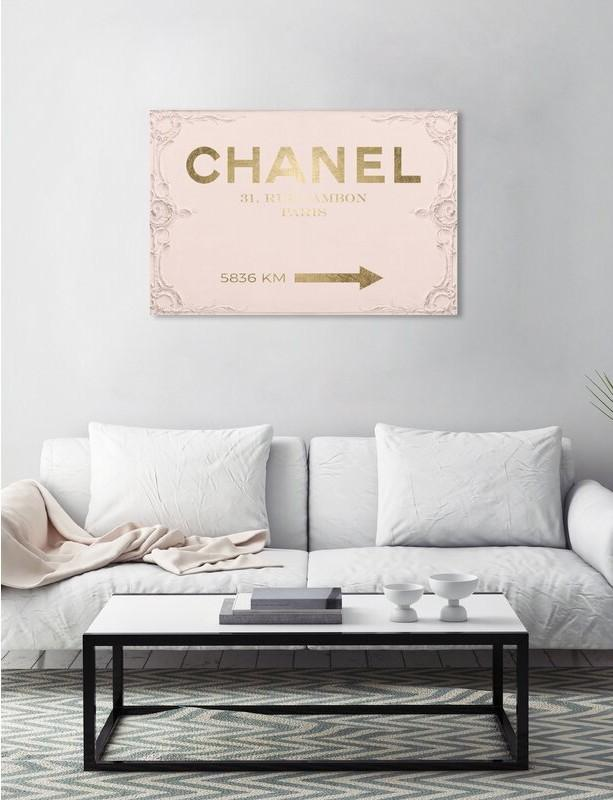 Couture Road Sign Rococo Gold Blush Graphic Art Print